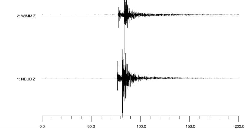 Aufzeichnungen der Erdbeben-Stationen Wimmelburg und Neuenburg